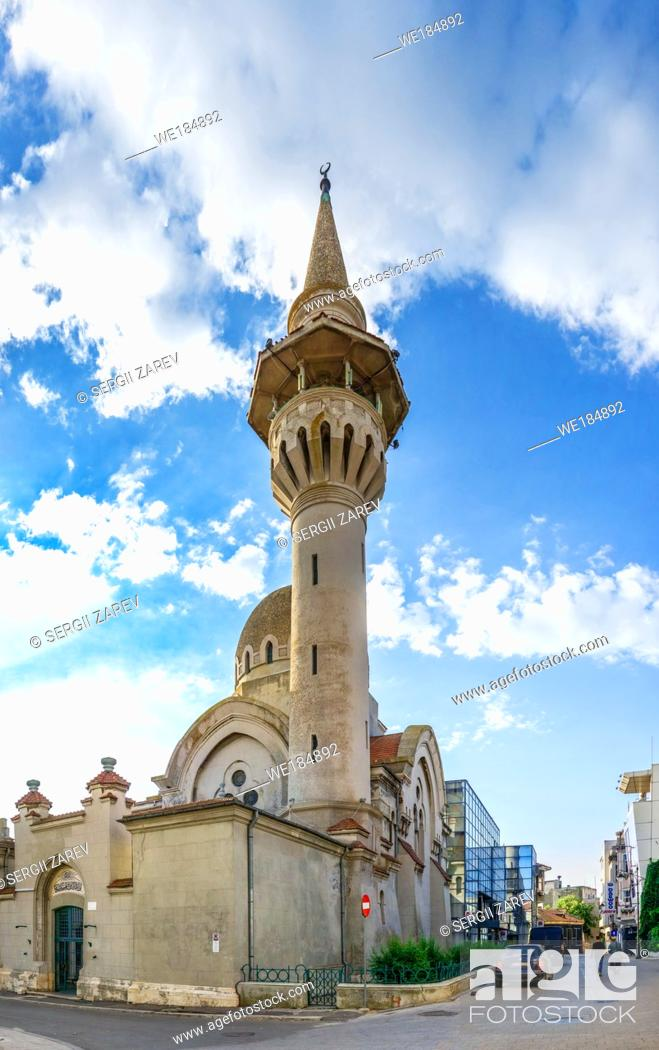 "Stock Photo: Constanta, Romania â. "" 07. 09. 2019. The Great Mosque in Constanta, the famous architecture and religious monument in Romania."