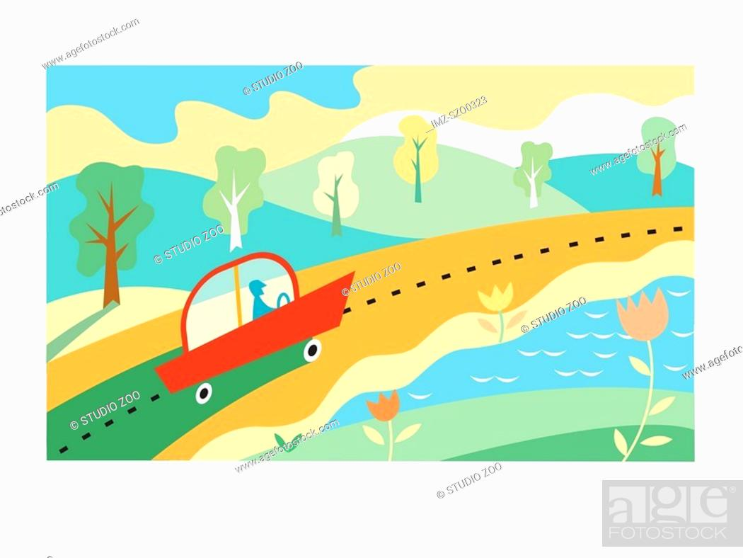 Stock Photo: Car travelling on sunny highway.