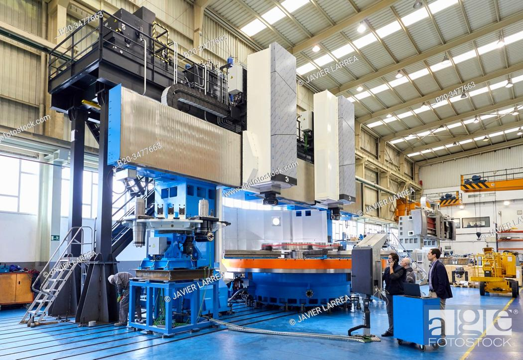 Stock Photo: Machining Centre, CNC, Vertical turning and Milling lathe. Design, manufacture and installation of machine tools, Metal industry, Mechanical workshop,.