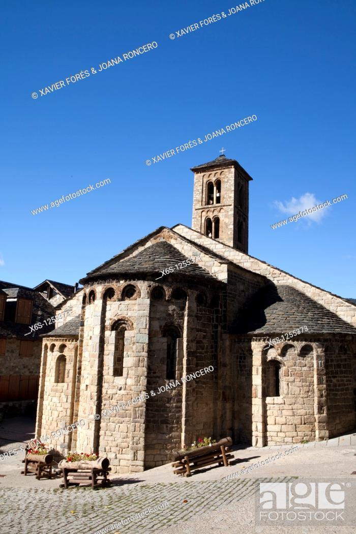 Stock Photo: Santa Maria de Taüll church, Taüll, Vall de Boí, Lleida, Spain.