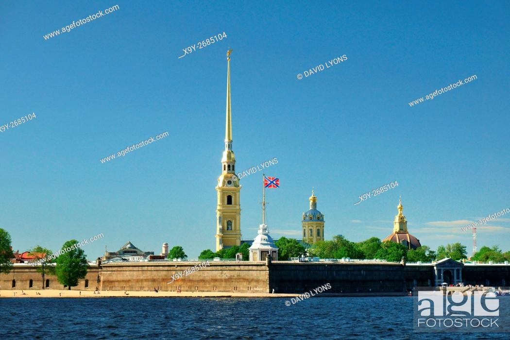 Stock Photo: Saint Petersburg Russia. Saints Peter and Paul Cathedral inside the walls of Peter and Paul Fortress on Zayachy Island.