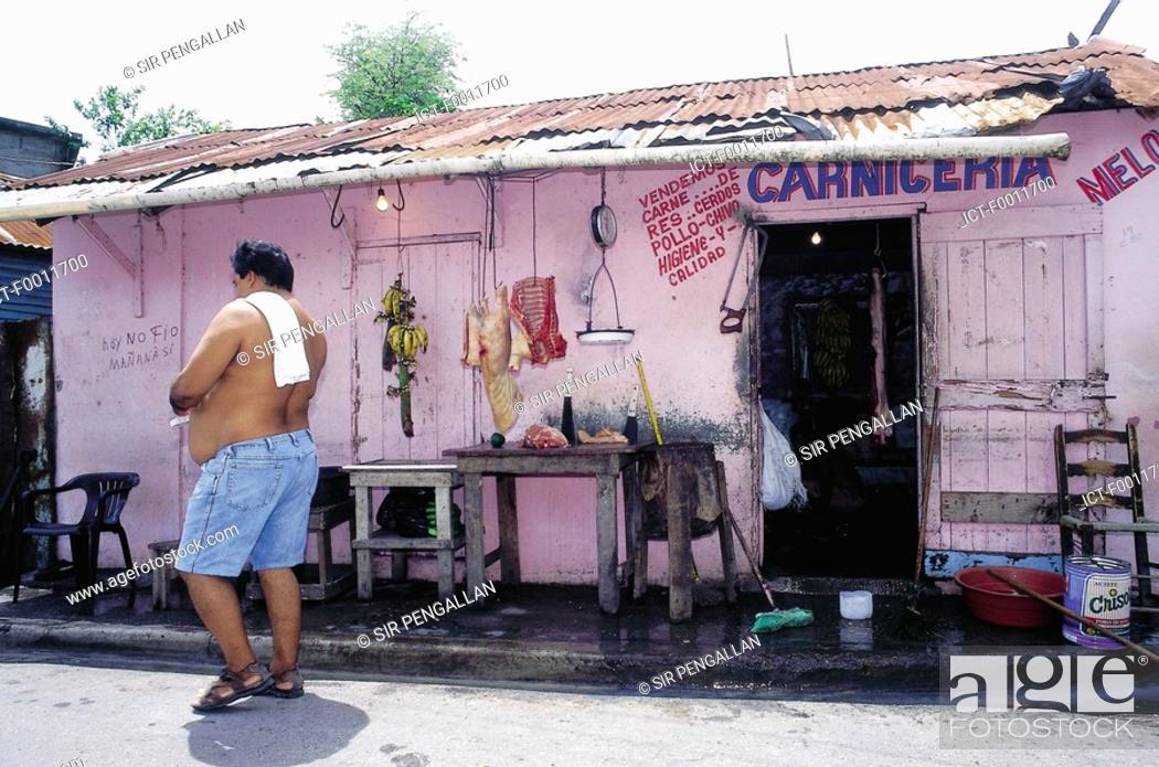 Stock Photo: Domenican Republic, Sanchez village, local butcher.