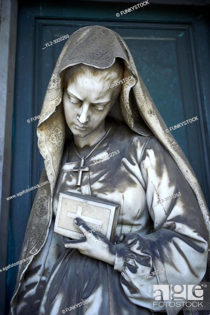 Stock Photo: Picture and image of the stone sculpture of a women on the tomb of ship builder Giovanni Battista Piaggio by Sculptor G. Benetti 1873.