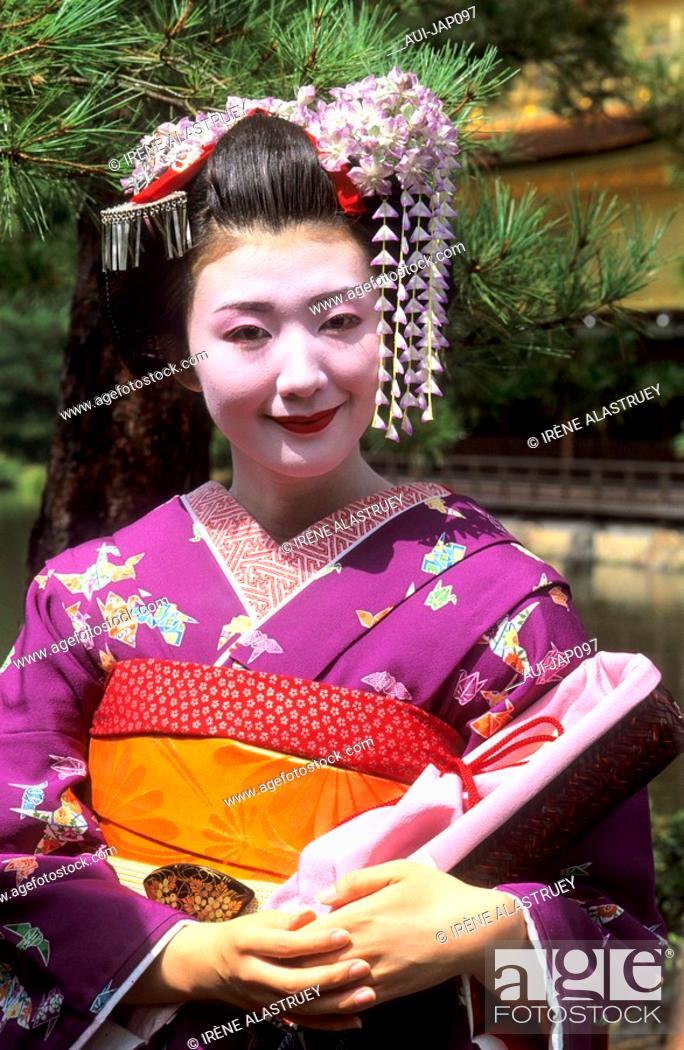 Stock Photo: Japan - Kyoto - Gion District - Geisha and Maiko Geisha apprentice.