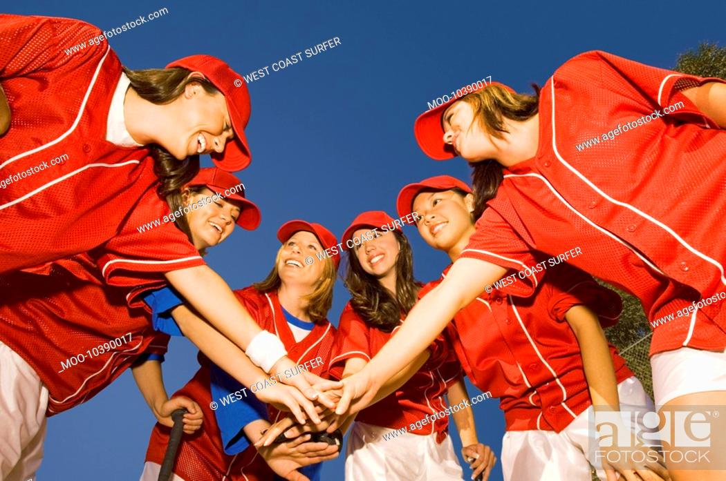 Stock Photo: Women's softball team in huddle low angle view.