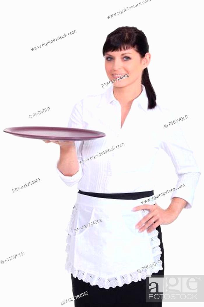 Stock Photo: Waitress with an empty tray.
