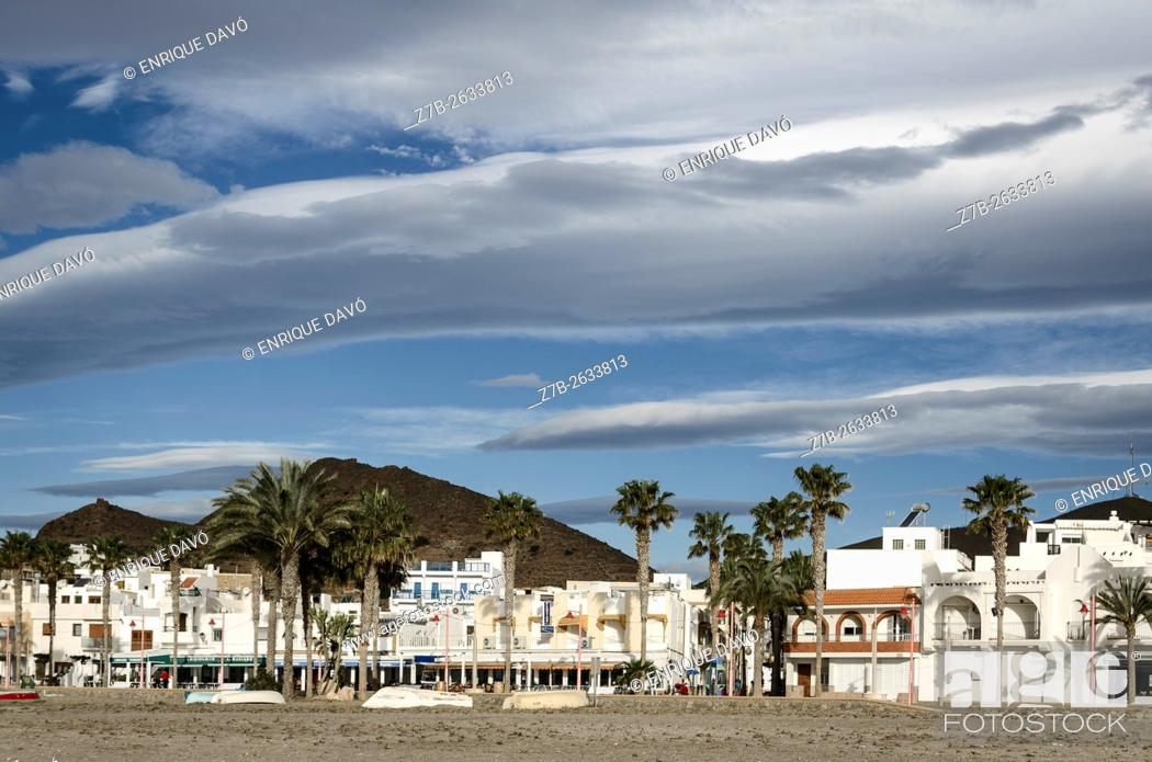 Stock Photo: A white houses view in the beach of Carboneras village, Almeria province, Spain.
