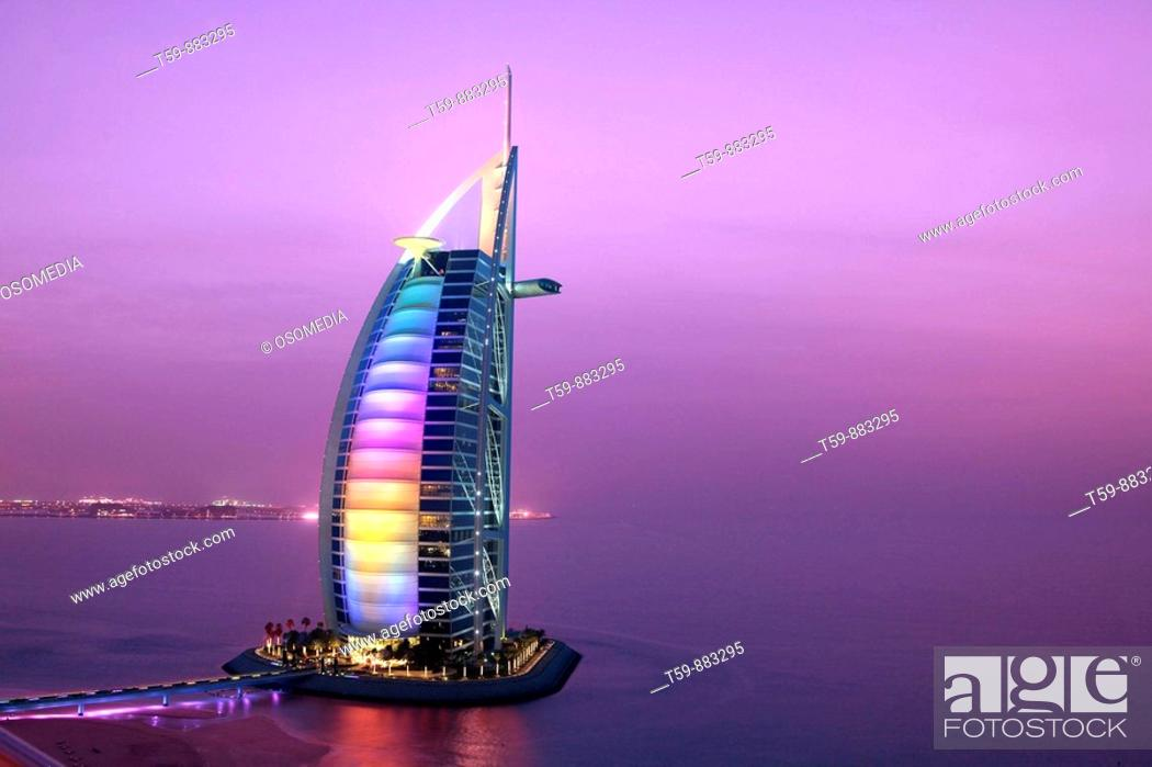 Stock Photo: Burj Al Arab Hotel at dusk, Dubai, United Arabian Emirates.