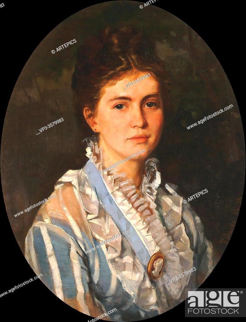 Imagen: Encke Fedor - Portrait of a Lady Wearing a Cameo Brooch - German School - 19th Century.