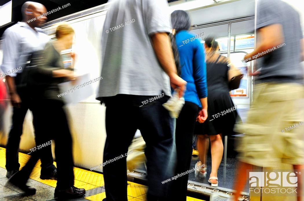 Stock Photo: 42nd Street Grand Central Terminal, number 4, 5, 6 subway trains, Green Line, Midtown Manhattan, New York City, USA.