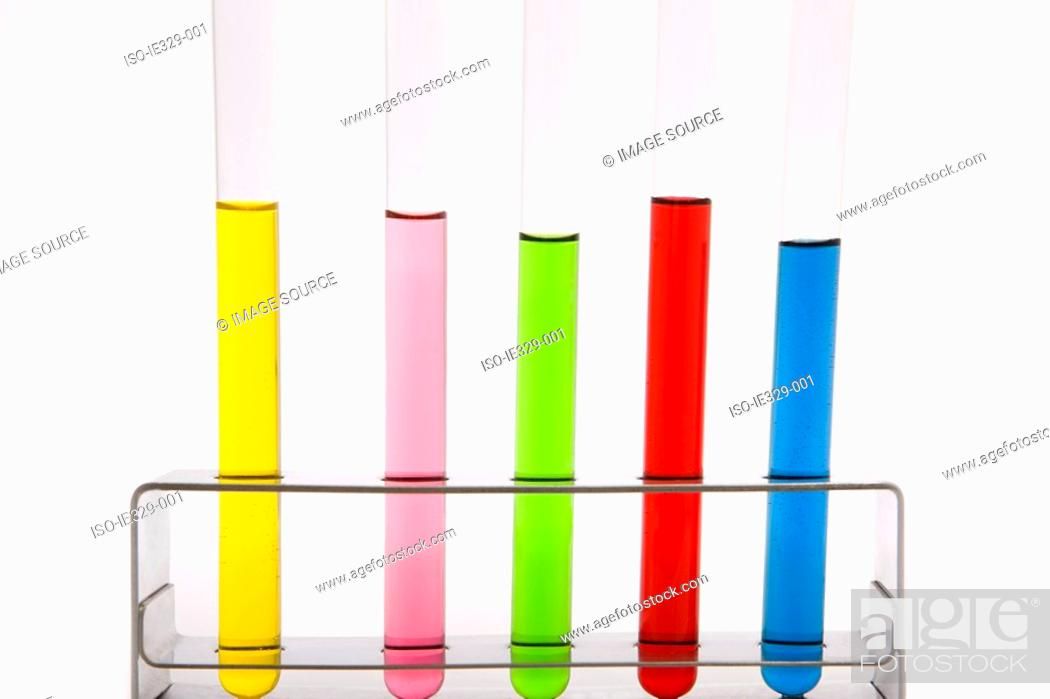 Stock Photo: Colorful test tubes in a row.