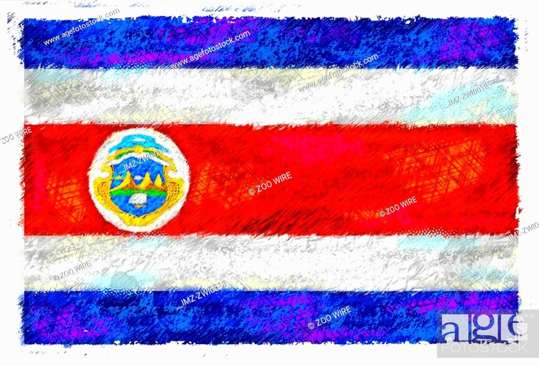 Stock Photo: Drawing of the flag of Costa Rica.