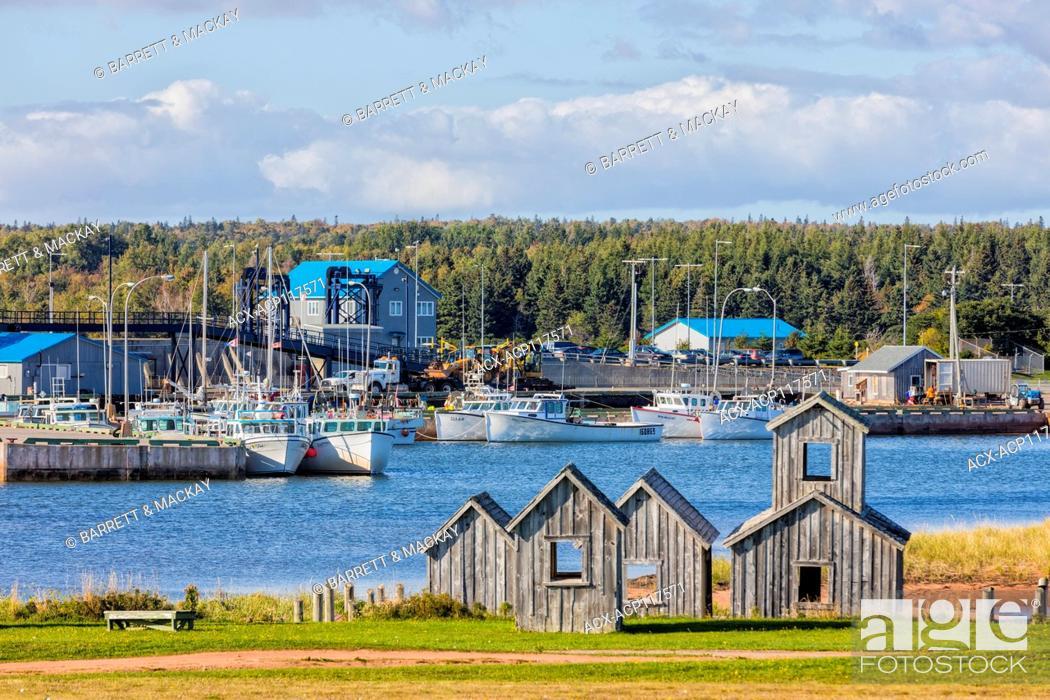 Stock Photo: Fishing boats tied up at wharf, Wood Islands, Prince Edward Island, Canada.