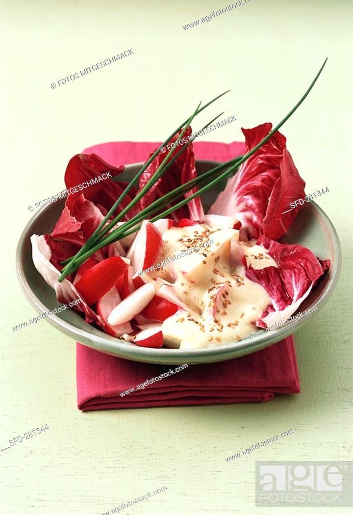 Stock Photo: Raw radish salad.