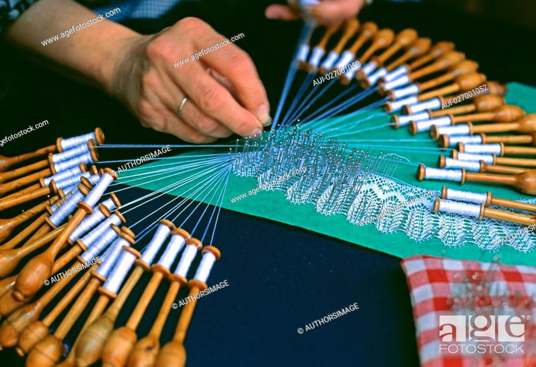 Stock Photo: Belgium - Flanders - Bruges - Lace making.