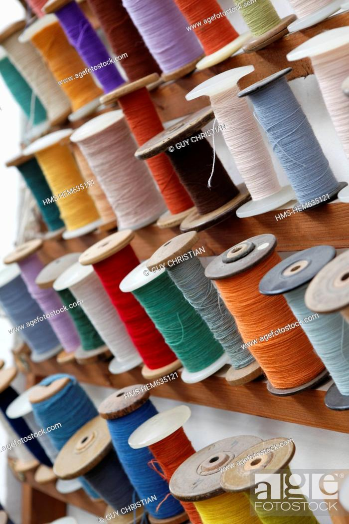 Stock Photo: France, Creuse, Aubusson, St Jean Tapestry Factory, Aubusson tapestry work is listed as Intangible Cultural Heritage by UNESCO.