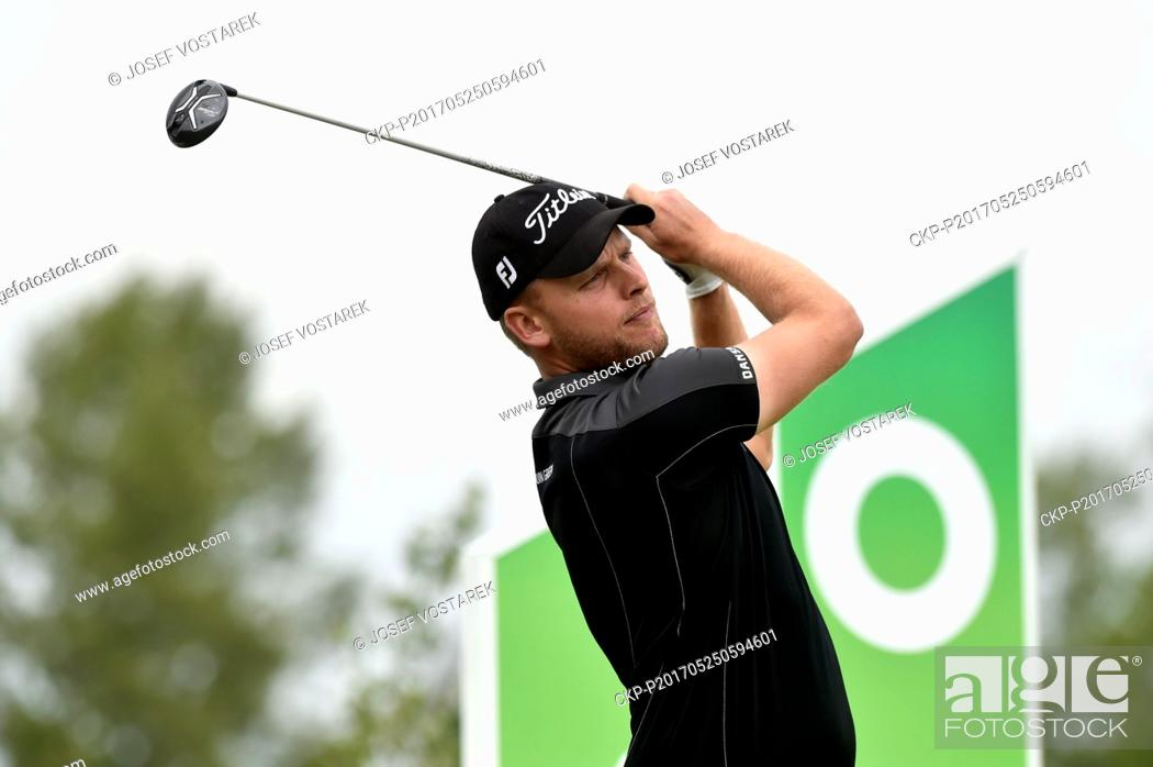 Stock Photo: Morten Orum Madsen from Danmark in action during the 6th Annual D+D REAL Czech Challenge men's golf tournament, which is part of the European Challenge Tour at.