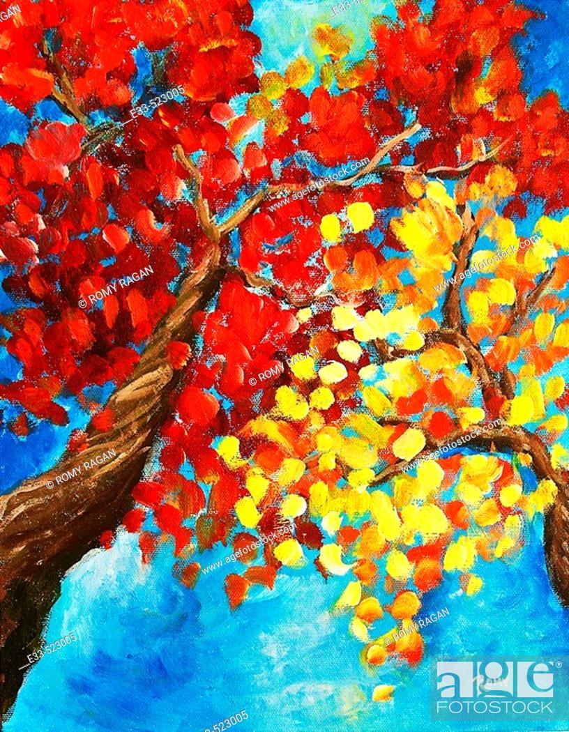 Imagen: 'Autumn Trees' Acrylic on canvas. Artist's collection.