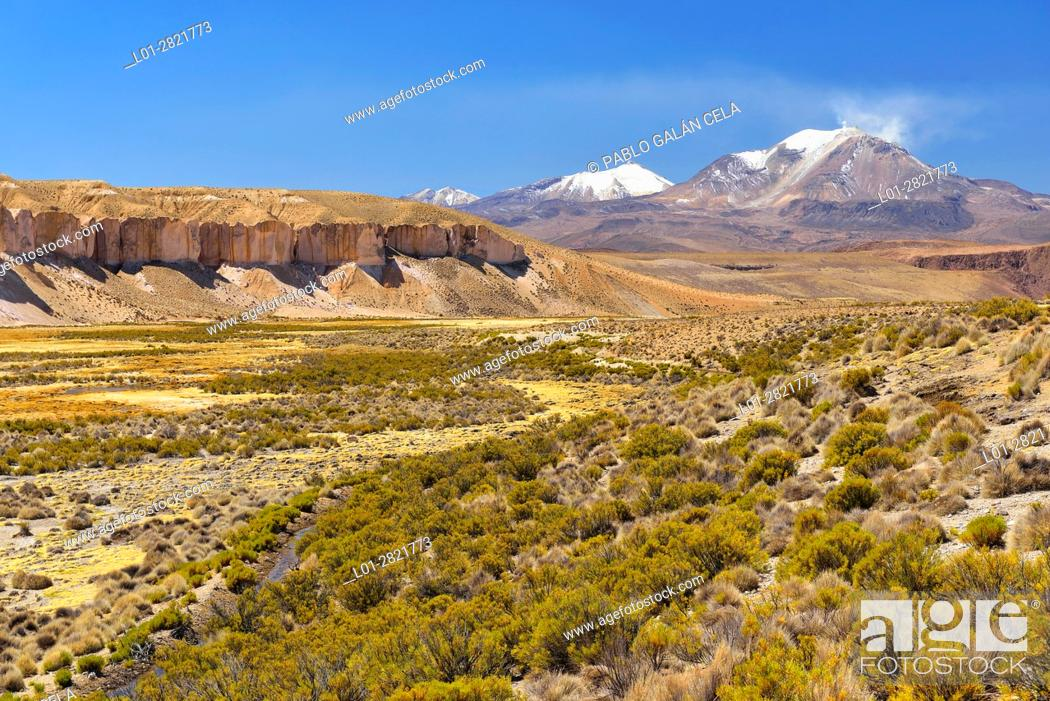 Imagen: Guallatire (6063 m) active volcano in Lauca National Park. Norte Grande region. Chile.
