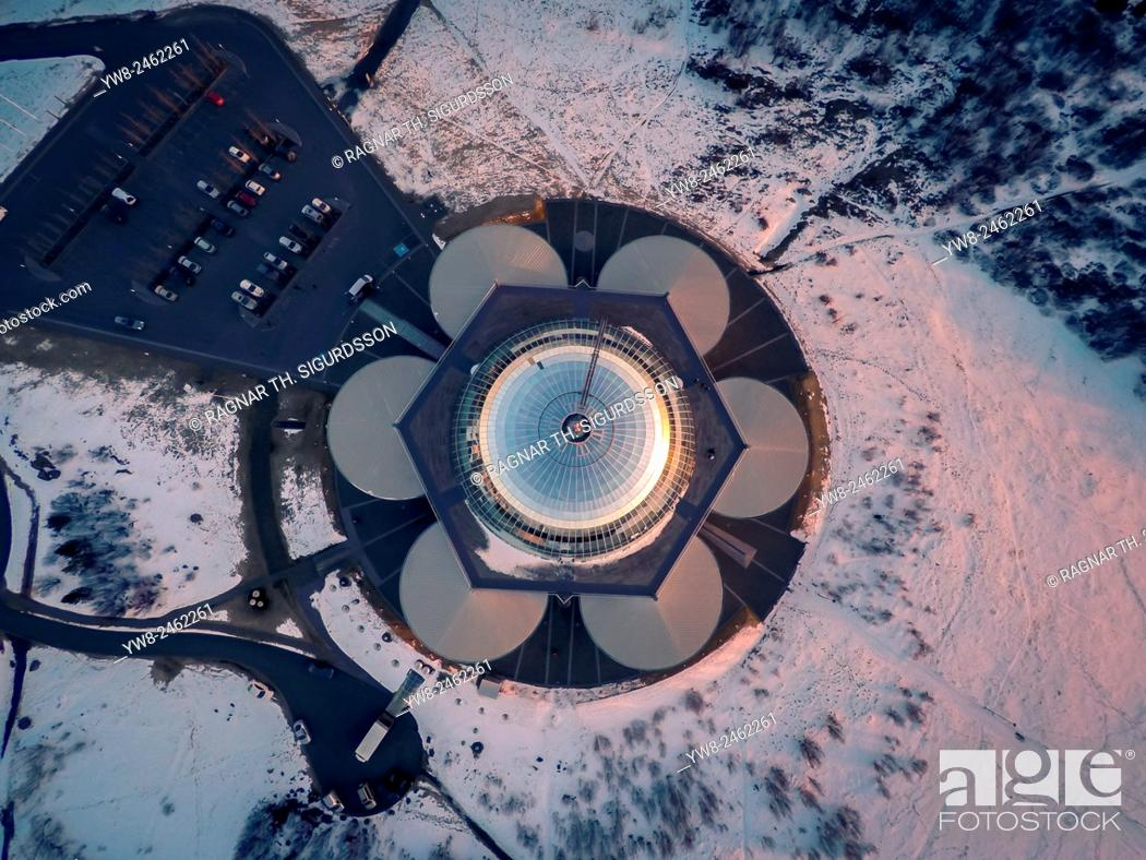 Stock Photo: Top view of The Pearl (Perlan) shot using a drone, Reykjavik, Iceland. The Pearl (Perlan) is built on the top of huge tanks in which natural hot water is stored.