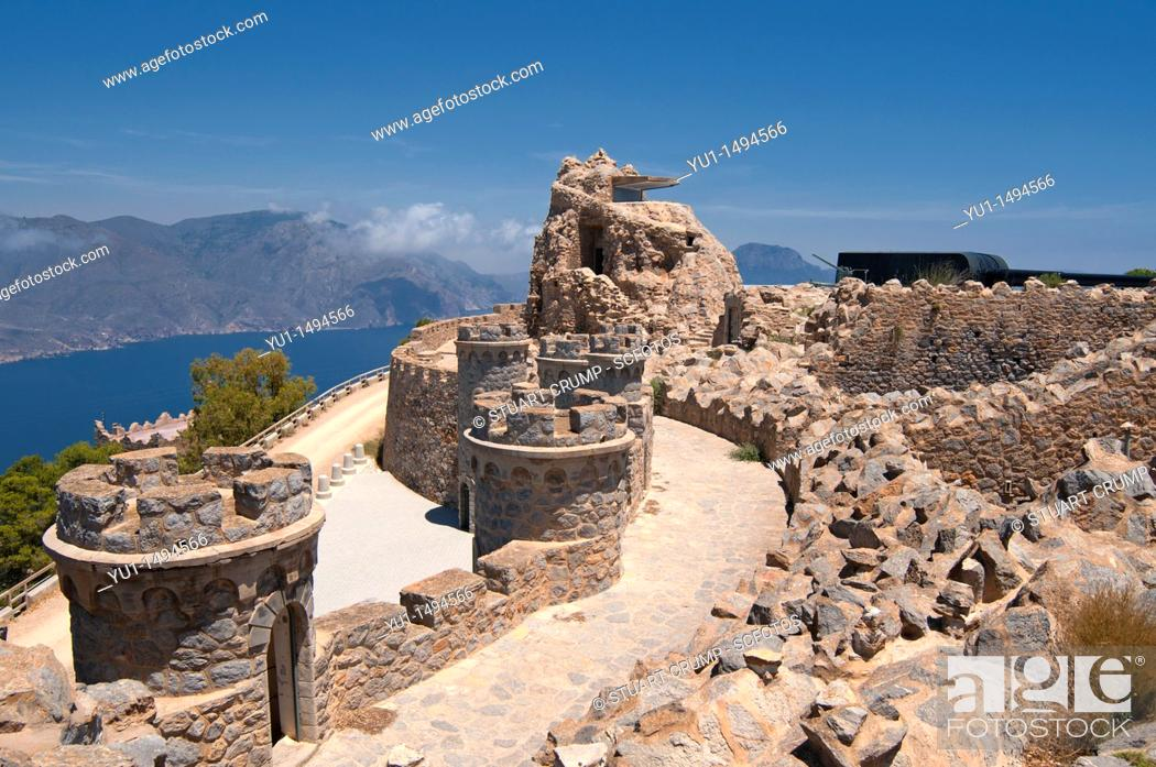 Stock Photo: Abandoned Coastal Defences at Cabo Tiñoso, Cartagena in the region of Murcia, South Eastern Spain.