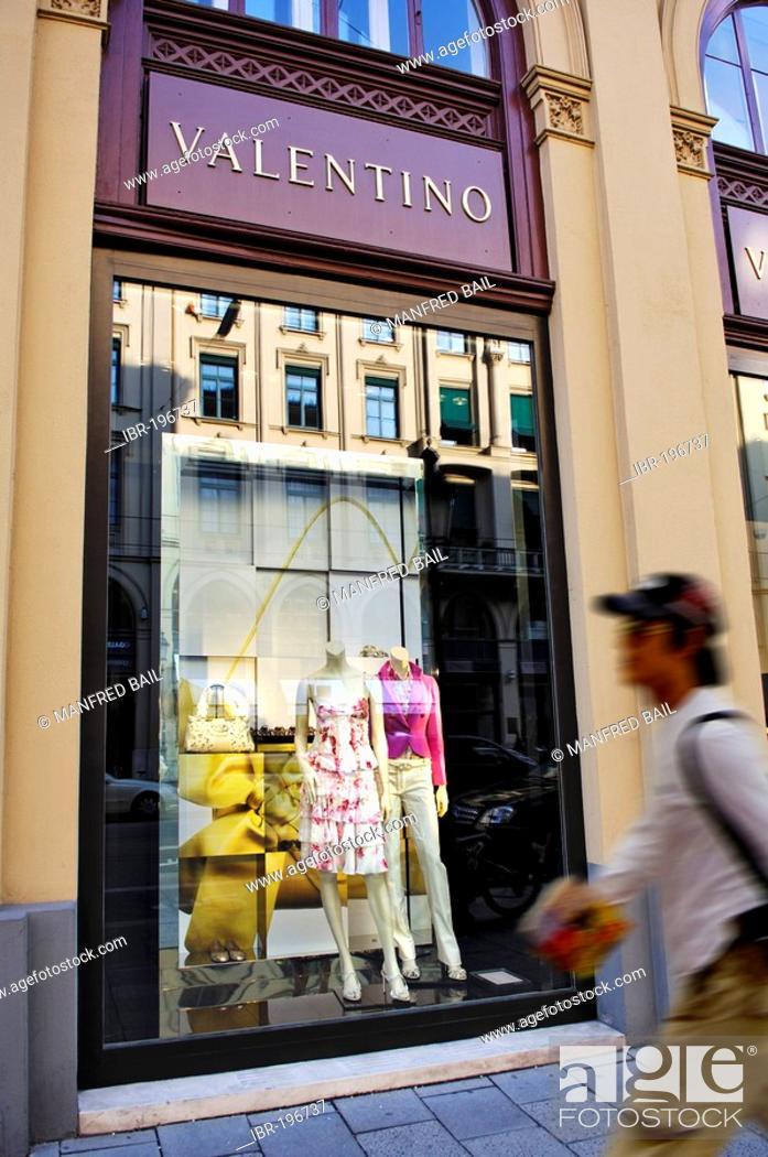 Stock Photo: Shop window Valentino store, Maximilianstrasse, Munich, Bavaria, Germany.