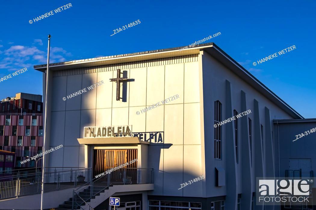 Stock Photo: Filadelfia church in Reykjavik, Iceland.