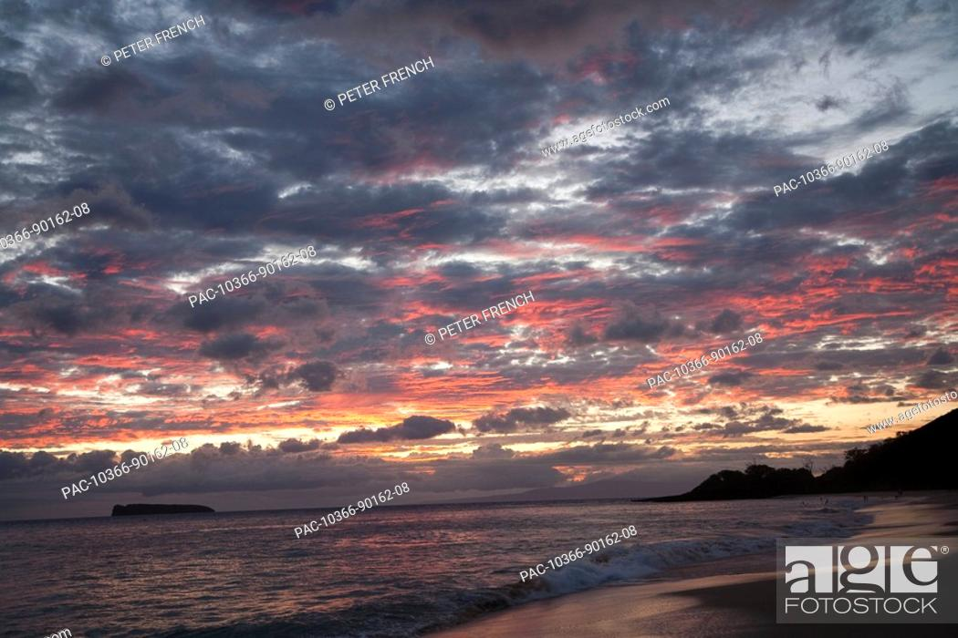 Stock Photo: Hawaii, Maui, Makena State Park, Oneloa or Big Beach, water lapping onto shore at sunset.