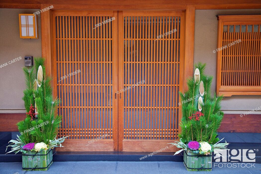 Stock Photo: New Year's decorations outside a Japanese doorway.