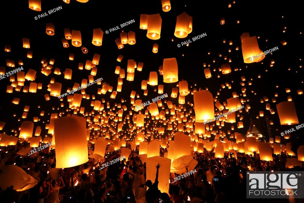 Stock Photo: Khom Loy Lanterns at the Yee Peng Sansai Floating Lantern Ceremony, part of the Loy Kratong celebrations in homage to Lord Buddha at Maejo, Chiang Mai, Thailand.