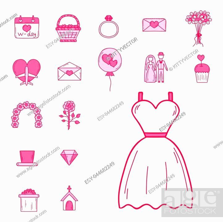 Wedding outline icons vector illustration. Married celebration ...