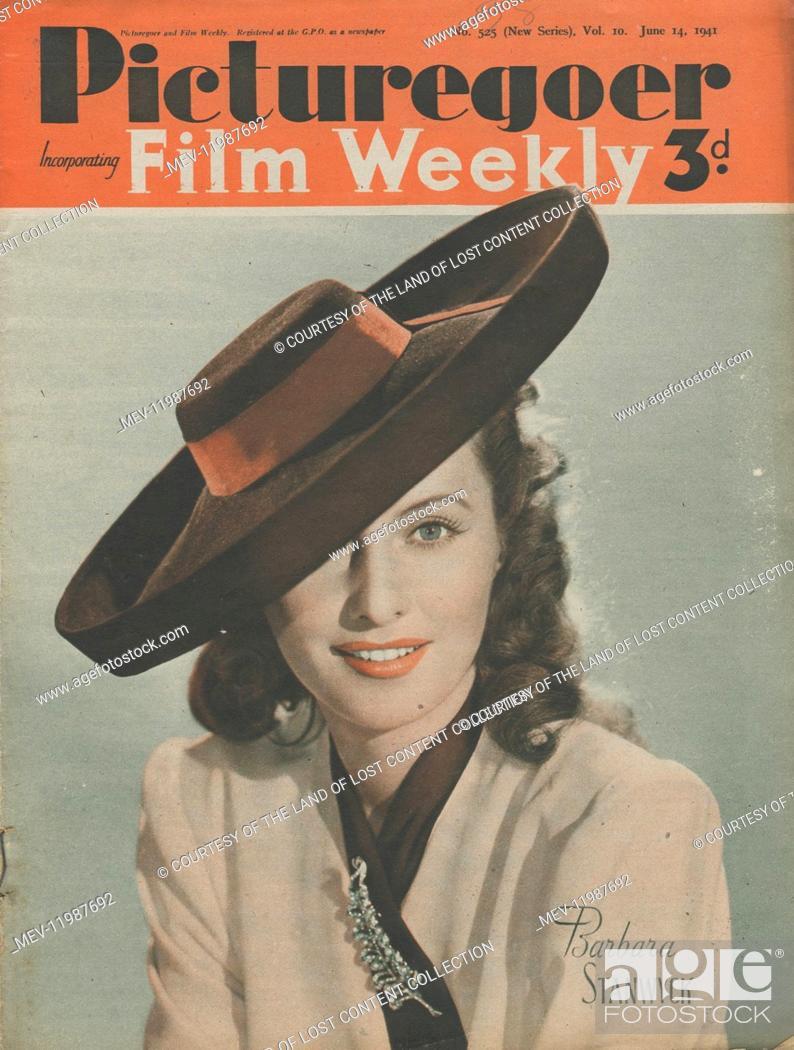Stock Photo: Picturegoer June 14th 1941 - 1941, Picturegoer cover, colour photo, Barbara Stanwyck, film star, large-brimmed jaunty hat, leaf brooch.