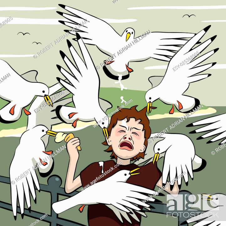 Stock Vector: Vector illustration of a young boy getting mobbed by gulls after his icecream.