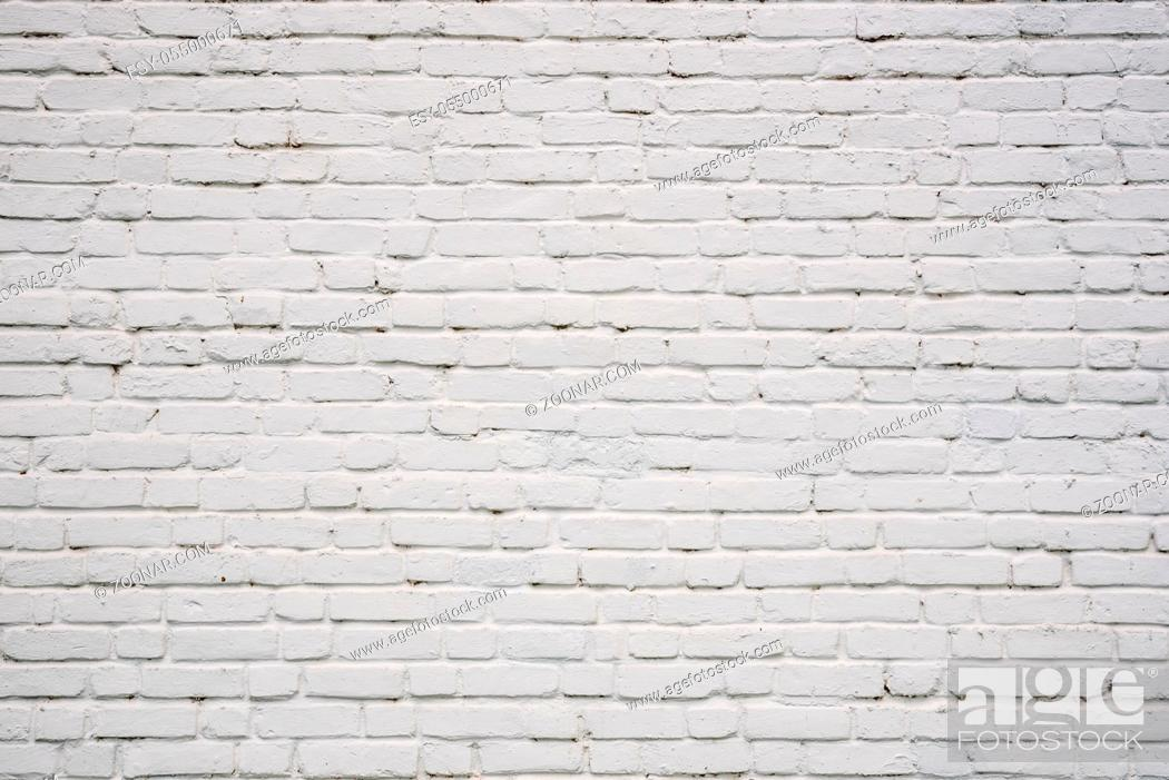 Stock Photo: Background or backdrop of white chipped brick wall.