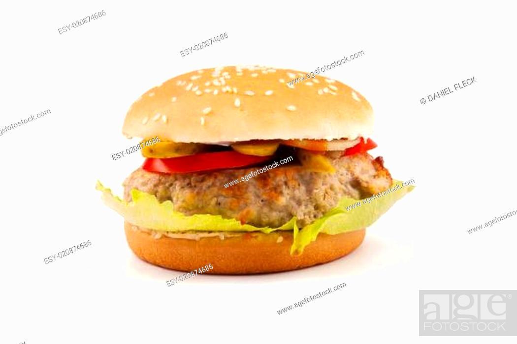 Stock Photo: Hamburger isolated on white.