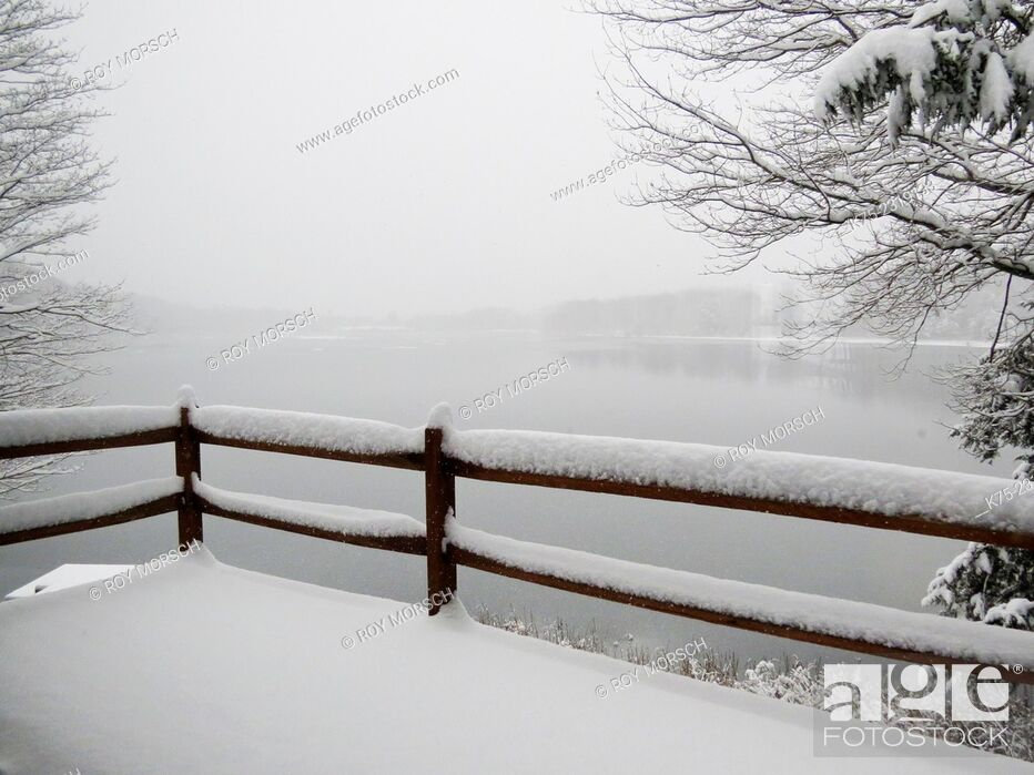 Stock Photo: Snow scene from deck looking at lke.