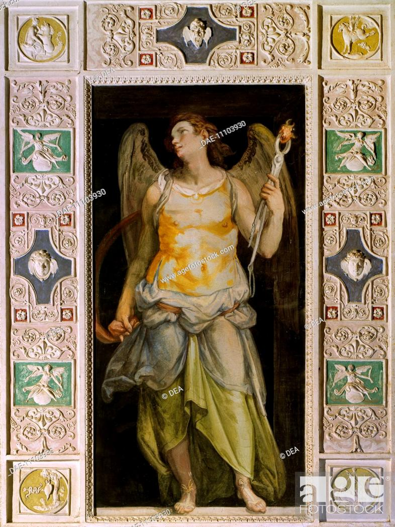Stock Photo: Figure of Angel, fresco by Raffaellino Da Reggio (1550-1578) in the Hall of the Angels of Palazzo Farnese, Caprarola. Italy, 16th century.