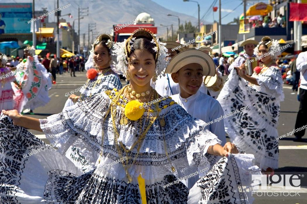 Stock Photo: Group of people dancing in a parade, Arequipa, Peru.