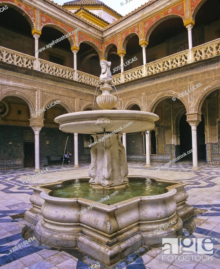 Stock Photo: Casa de Pilatos Palace (16th century), Courtyard whith fountain of Roman god Janus Bifrons, Seville, Region of Andalusia, Spain, Europe.