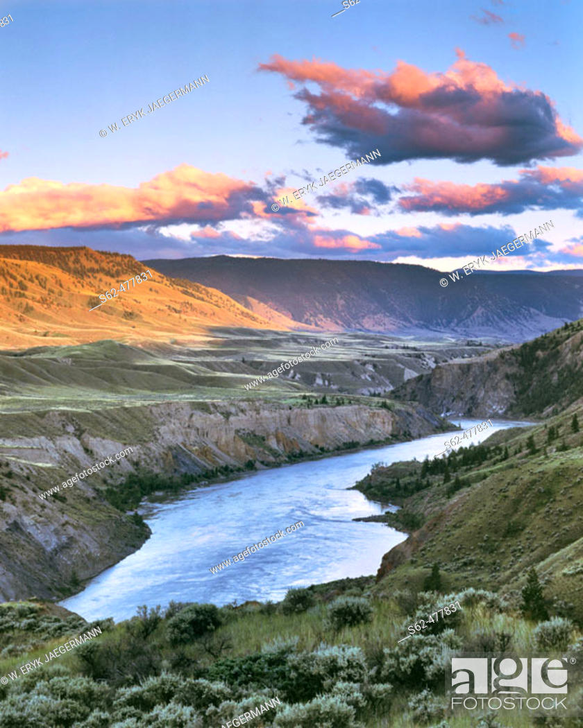 Stock Photo: Fraser River Canyon at Last Light, Chilcotin, British Columbia, Canada.