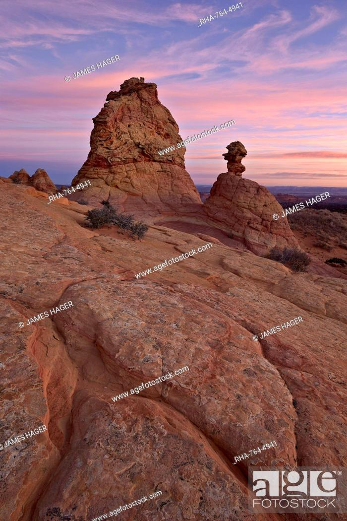 Stock Photo: Sandstone formations at sunrise, Coyote Buttes Wilderness, Vermilion Cliffs National Monument, Arizona, United States of America, North America.