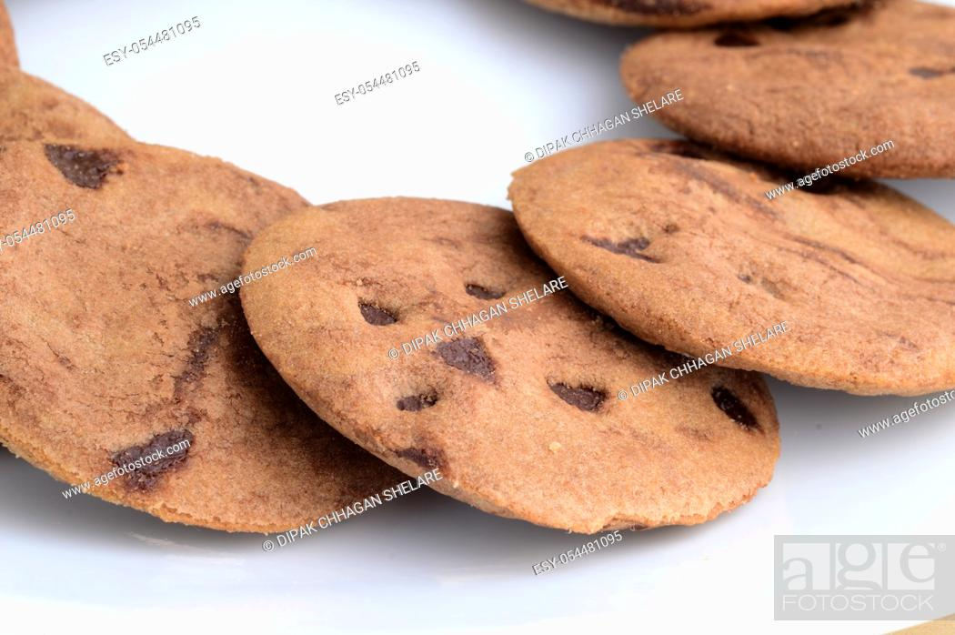 Photo de stock: Chocolate Chip Cookie in plate.