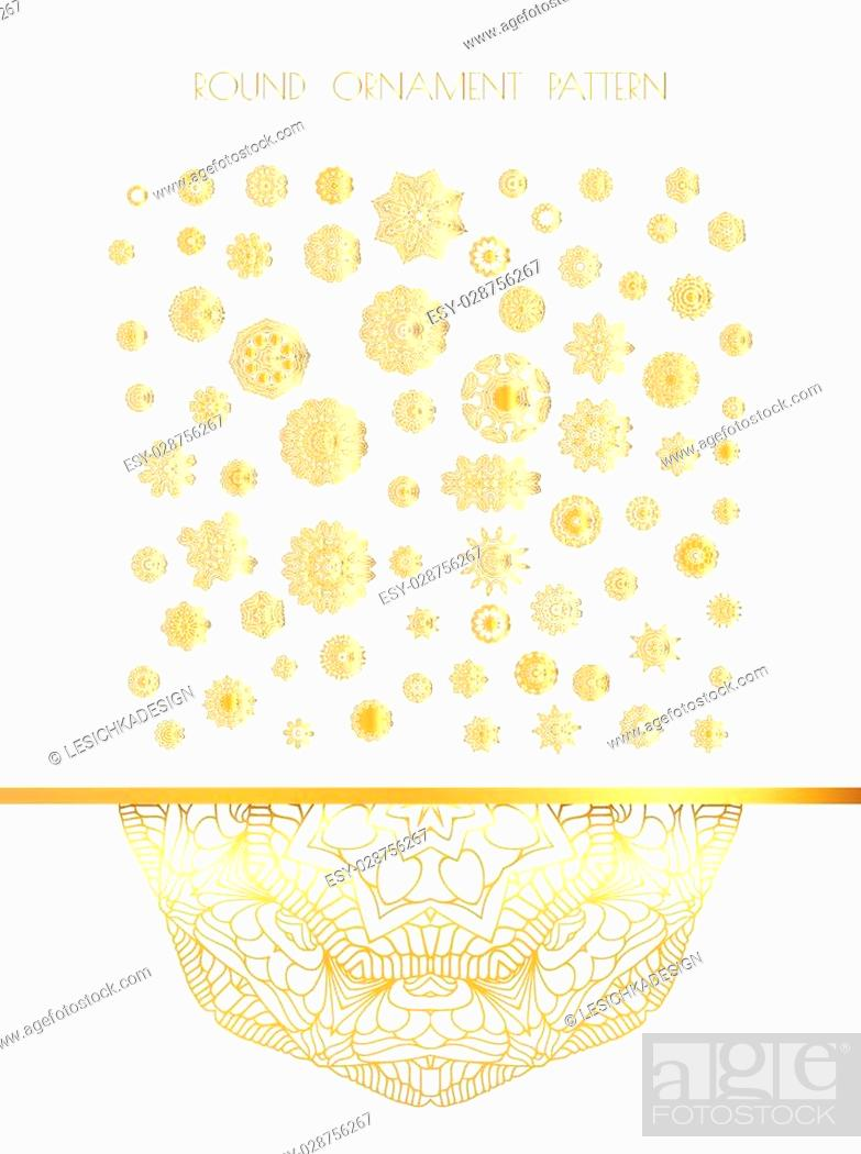 Vector: Traditional golden decor on white background. Abstract golden ornament. Vector illustration.