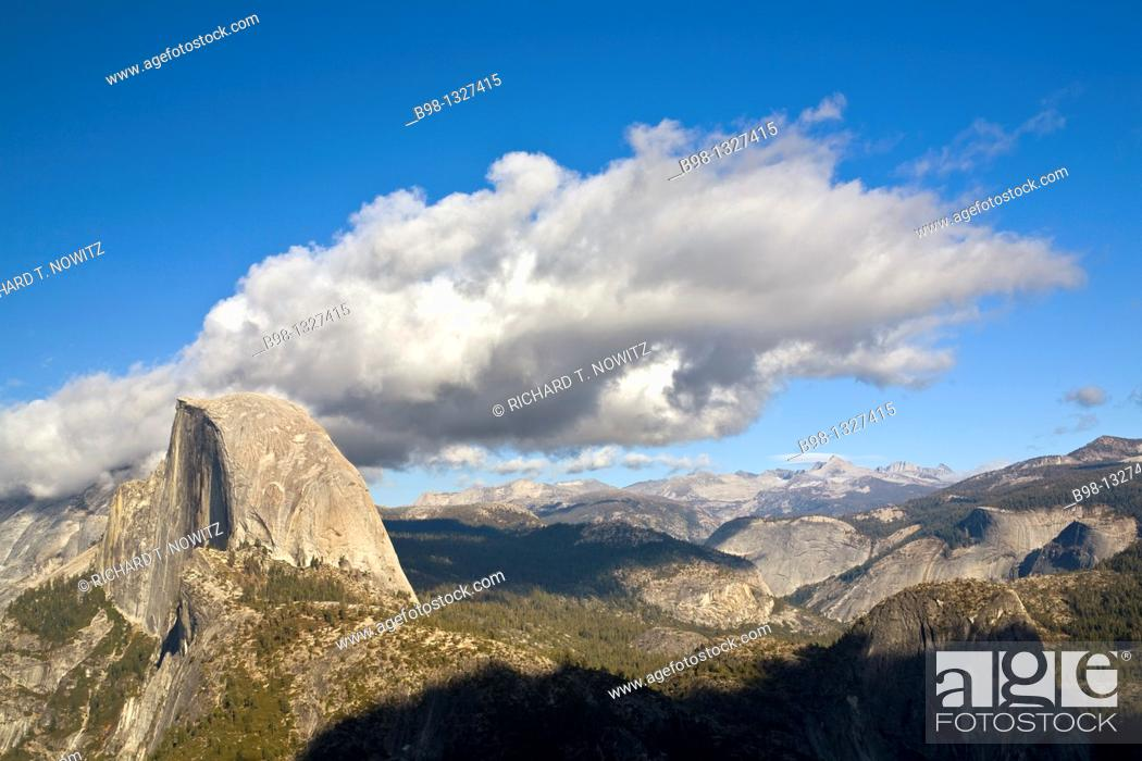Stock Photo: Views from Galcier Point, Yosemite National Park, California  Half Dome.