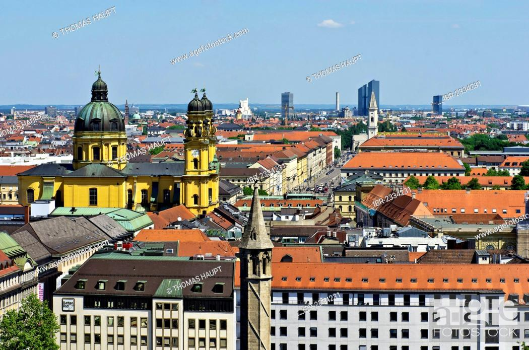 Stock Photo: View over the roofs of Munich as seen from the steeple of the Church of St. Peter, Theatinerkirche church on the left, Munich, Upper Bavaria, Bavaria, Germany.