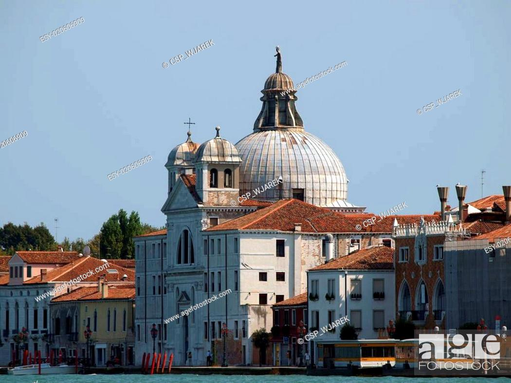 Stock Photo: Venice - Le Zitelle church seen from Giudecca Canal.