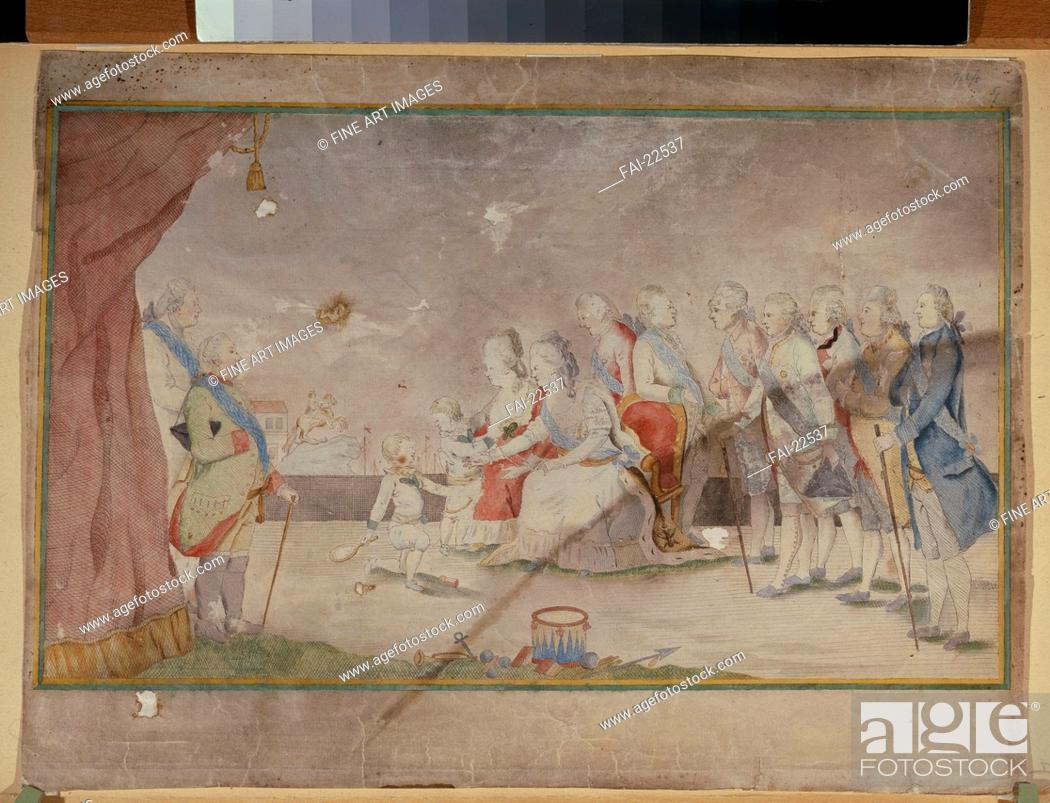 Stock Photo: Empress Catherine II with her family and courtiers. Anonymous . Watercolour and ink on paper. Rococo. End 1780s. Russia. State Tretyakov Gallery, Moscow.