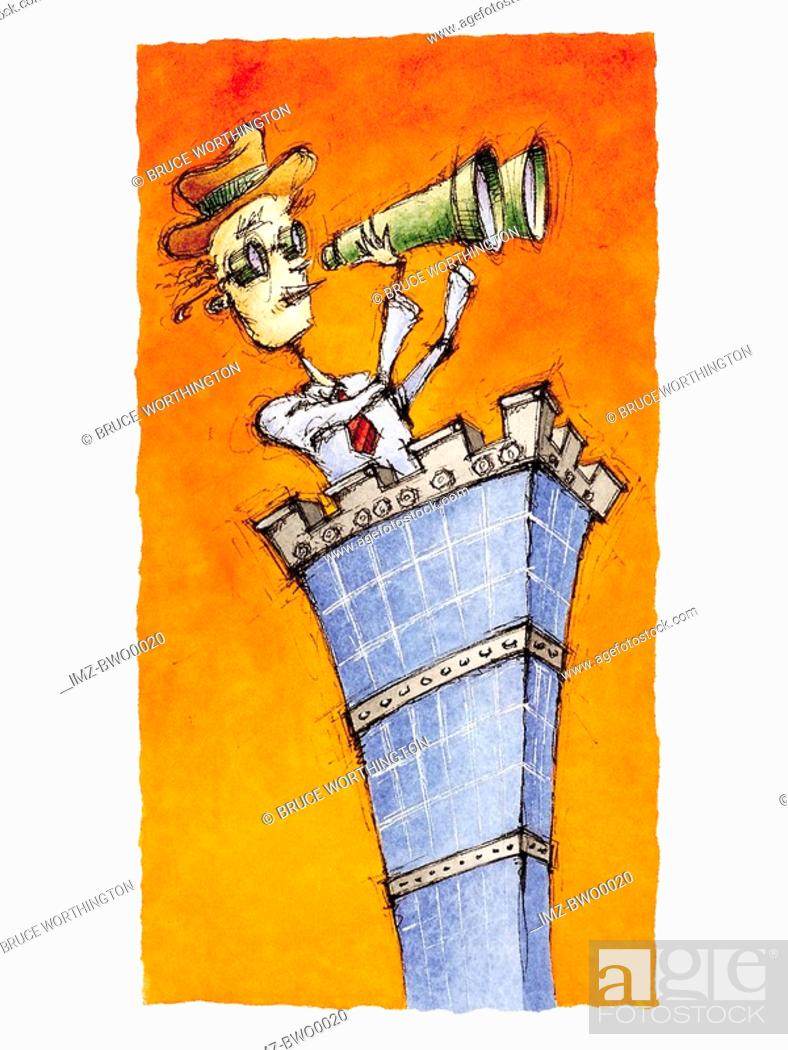 Stock Photo: A businessman on the top of a high rise using binoculars.