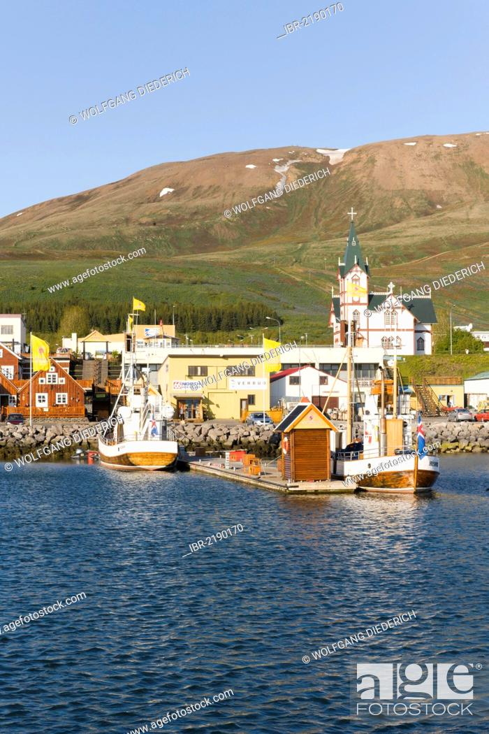 Stock Photo: Boats for whale watching, Husavik, Iceland, Northern Europe, Europe.
