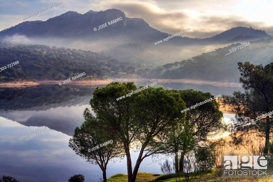 Stock Photo: San Juan reservoir, view from Virgen de la Nueva. Madrid province. Spain.
